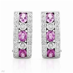 18KT White Gold 1.38ctw Sapphire and Diamond Earrings
