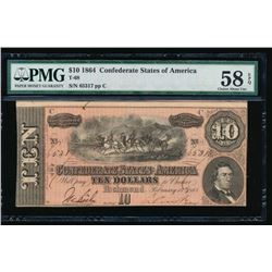 1864 $10 Confederate States of America Note PCGS 58EPQ