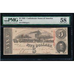 1863 $5 Confederate States of America Note PMG 58