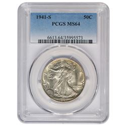 1941-S Walking Liberty Half Dollar Coin PCGS MS64
