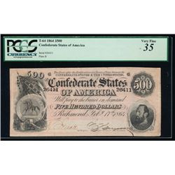 1864 $500 Confederate States of America Note PCGS 35