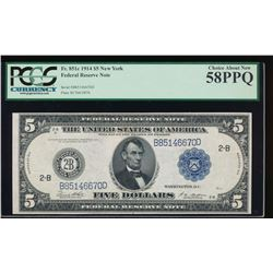 1914 $5 New York Federal Reserve Note PCGS 58PPQ