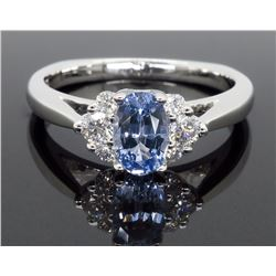 14KT White Gold 0.77ct Blue Sapphire and Diamond Ring