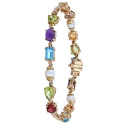 14KT Yellow Gold 7.95ctw Colored Gemstone and Diamond Bracelet