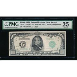 1934 $1000 Atlanta Federal Reserve Note PMG 25