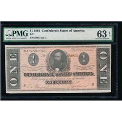 1864 $1 Confederate States of America Note PMG 63EPQ