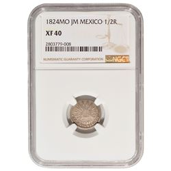 1824 Mexico 1/2 Real Coin NGC XF40