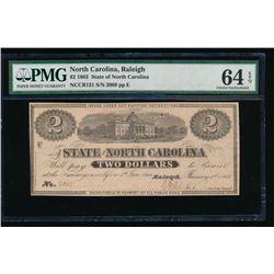 1863 $2 State of North Carolina Obsolete note PMG 64EPQ