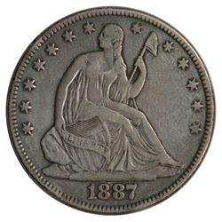 1887 Seated Liberty Half Dollar Coin