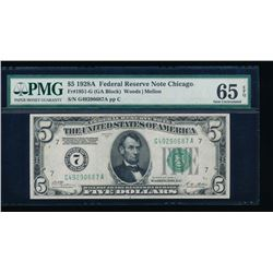 1928A $5 Chicago Federal Reserve Note PMG 65EPQ