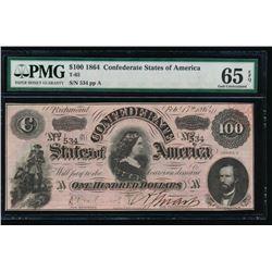 1864 $100 Confederate States of America Note PMG 65EPQ