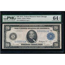 1914 $20 Chicago Federal Reserve Note PMG 64EPQ