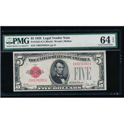 1928 $5 Legal Tender Note PMG 64EPQ