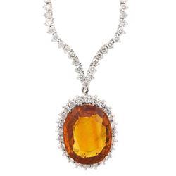 18KT White Gold 26.40ct GIA Cert Orange Sapphire and Diamond Necklace