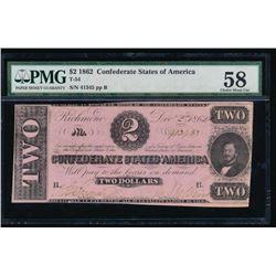 1862 $2 Confederate States of America Note PMG 58