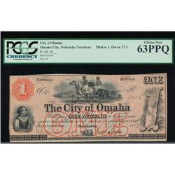 1800's $1 City of Omaha Obsolete Note PCGS 63PPQ
