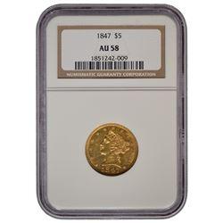 1847 $5 Liberty Head Half Eagle Gold Coin NGC AU58