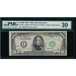 1934 $1000 San Francisco Federal Reserve Note PMG 30