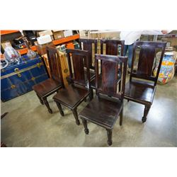 6 DARK STAIN WOOD DINING CHAIRS