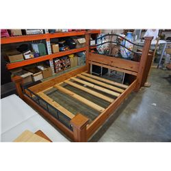WOOD AND METAL QUEEN SIZE BED FRAME