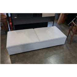 WHITE LEATHER STORAGE BENCH HIDE A BED - RETAIL $2000