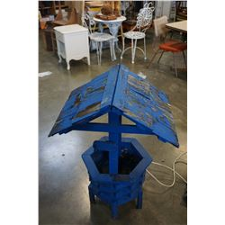BLUE WOODEN WELL DECORATION