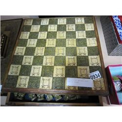 VINTAGE STONE AND WOOD CHESS BOARD W/ PIECES