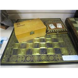 ETCHED METAL CHESS BOARD, WOOD FIGURES, AND CARDS