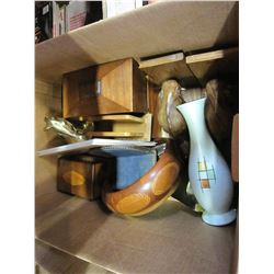 BOX OF ANTIQUE COLLECTIBLES INCLUDE WOODEN ELEPHANT BOOK ENDS