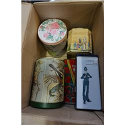 BOX LOT OF COLLECTABLE TINS ONE IS MUSICAL