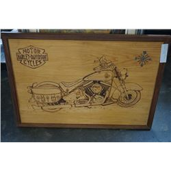 WOOD BURNED HARLEY DAVIDSON MOTORCYCLE PICTURE