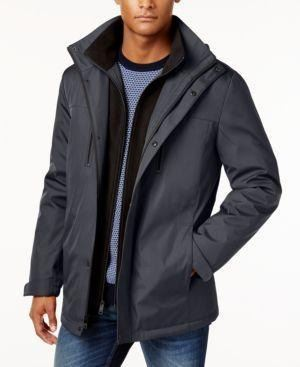 b8e0a86b845 Image 1 : Kenneth Cole REACTION Men's Bonded Midweight Jacket with Fleece  Zip Bib- Charcoal