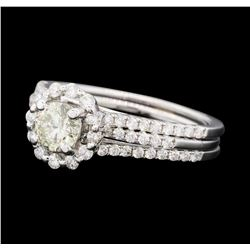 1.11 ctw Diamond Ring and Wedding Band - 14KT White Gold