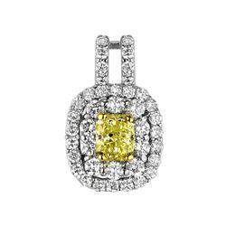 18k Two Tone Gold 1.13CTW Diamond Pendant, (VS1-SI1/VS1 /G-H/Nat-yel)