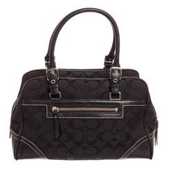 Coach Black Monogram Canvas Leather Shoulder Handbag