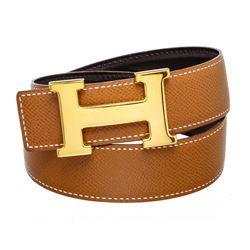 Hermes Tan Leather Reversible Constance H Belt 60