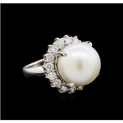 Pearl and Diamond Ring - Platinum