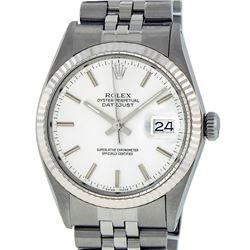 Rolex Mens Stainless Steel 36MM Silver Index Datejust Wristwatch