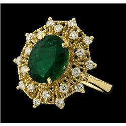 3.68 ctw Emerald and Diamond Ring - 14KT Yellow Gold