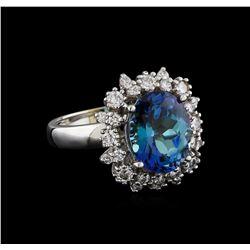 5.42 ctw Tanzanite and Diamond Ring - 14KT White Gold
