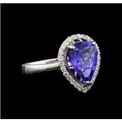 14KT White Gold 3.76 ctw Tanzanite and Diamond Ring