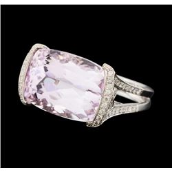 18.22 ctw Kunzite and Diamond Ring - 18KT White Gold