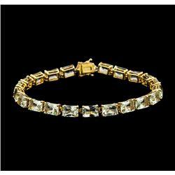 20.90 ctw Aquamarine Bracelet - 14KT Yellow Gold