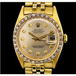 Rolex 18KT Yellow Gold Diamond DateJust Men's Watch