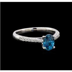 1.22 ctw Blue Zircon and Diamond Ring - 18KT White Gold