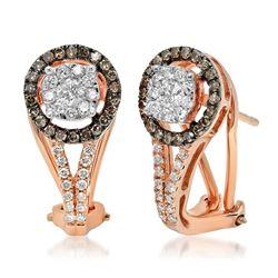 14k Rose Gold 0.61CTW Brown Diamonds and Diamond Earrings, (I1/H/Dark Brown)