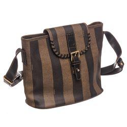 Fendi Brown Coated Canvas Leather Stripe Shoulder Bag