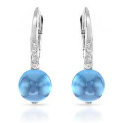 14k White Gold  3.98CTW Blue Topaz and Diamond Earrings