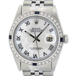 Rolex Mens Stainless Steel Silver MOP Roman 36MM Diamond & Sapphire Datejust Wri