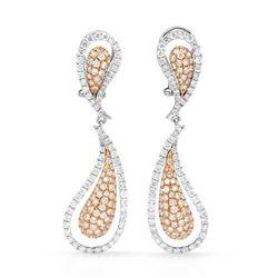 18k Two Tone Gold 3.01CTW Diamond Earrings, (SI1/G)